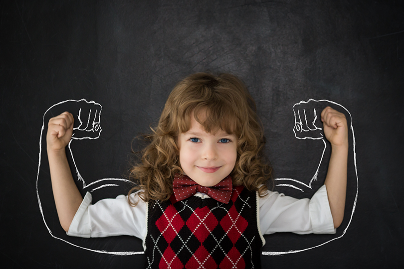Girl-with-Strong-Arms-on-Chalkboard